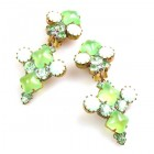 Bubbles Earrings with Clips ~ Neon Green