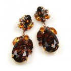Fountain Multicolor Earrings Pierced ~ Silver Amber Topaz