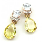 Effervescence Earrings with Clips ~ Yellow Clear Crystal