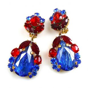 Iris Earrings Clips-on ~ Silver Blue Red
