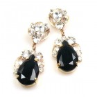 Fountain Earrings for Pierced Ears ~ Clear with Black