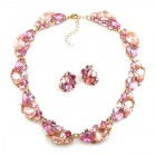 Lite Fountain Necklace with Earrings ~ Pink