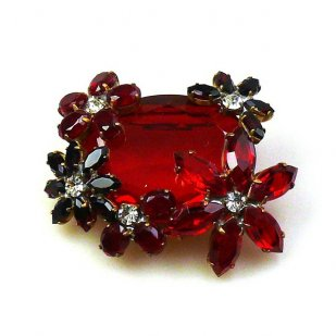 Elipse and Flowers Brooch ~ Ruby Red