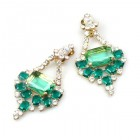 Window to Paradise Clips Earrings ~ Green Emerald