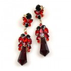 Theia Earrings Pierced ~ Ruby Red and Black