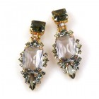 Allisa Earrings Clips ~ Smoke Crystal