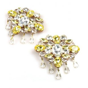Marquis Shoe Clips ~ Clear Crystal Yellow