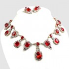 Hall Rhinestone Necklace Set ~ Ruby Red