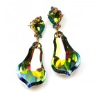 Vitrail Green Dangling Pierced Earrings
