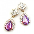 Fountain Clips-on Earrings ~ Crystal with Silver Red Fuchsia