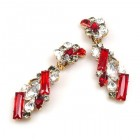 Ffion Earrings Clips-on ~ Ruby Red and Clear Crystal