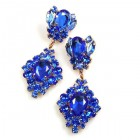 Aztec Sun Earrings Pierced ~ Blue