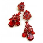Parisienne Bloom Earrings Clips ~ Red Tones