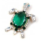 Turtle Brooch ~ Emerald with Clear Crystal