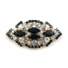 Yule Classic Brooch ~ Clear Crystal with Black