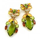 Floralie Earrings with Clips ~ Olive Green with Topaz