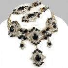 Pompe Choker with Earrings ~ Crystal with Black