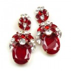 Extra Elipse Earrings Long Pierced ~ Red and Clear Crystal