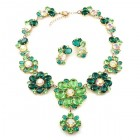 Eden Holiday Necklace with Earrings ~ Green Tones
