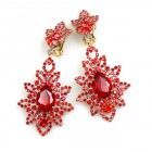 Emotion Lace Earrings Clips ~ Red
