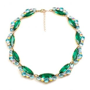 Navette Necklace ~ Emerald Aqua AB