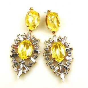 Ella Earrings Pierced ~ Baguettes and Ovals ~ Yellow
