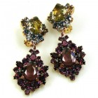 Aztec Sun Earrings Clips ~ Purple with Black Diamond