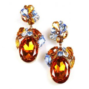 Fiore Pierced Earrings ~ Topaz Ovals with Sapphire Blue