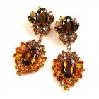 Aztec Sun Earrings Pierced ~ Topaz Tones with Gold Topaz