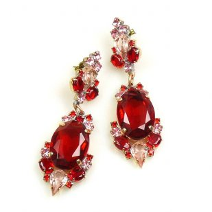 Mythique Earrings for Pierced Ears ~ Pink Tones and Red