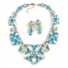 Fantasme Necklace Set with Earrings ~ Aqua Clear Crystal