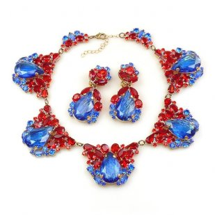 Iris Necklace Set ~ Silver Blue Red