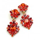 Aztec Sun Earrings Clips ~ Red