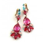 Fancy Essence Earrings Clips ~ Fuchsia Aqua