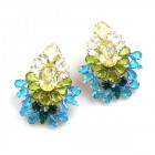 Elegancy Earrings with Clips ~ Aqua Olive Jonquil