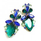 Floralie Earrings Pierced ~ Emerald with Blue