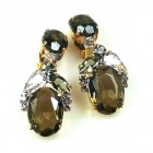 Constance Earrings Clips ~ Smoke Crystal