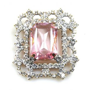 Octagonal Brooch or Pendant ~ Clear Crystal with Pink