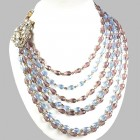 Pearl Orchid Necklace ~ Clear Light Sapphire Amethyst