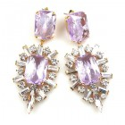 Ella Earrings Pierced ~ Baguettes and Ovals ~ Violet
