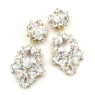 Beaute Earrings with Clips ~ Clear Crystal