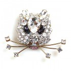 Kitty Brooch ~ Clear Crystal with Purple Eyes