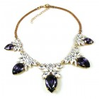 Camilla Necklace ~ Clear Crystal with Silver Purple
