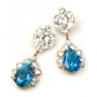 Fountain Earrings Pierced ~ Crystal Gold Blue