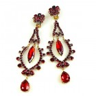 Extra Long Dangling Earrings Clips-on ~ Ruby Red
