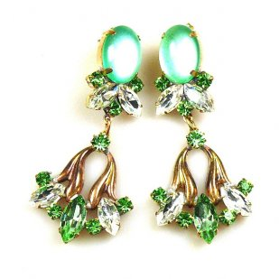 Tulip Earrings Pierced ~ Green with Clear Crystal