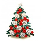 Xmas Tree Brooch #10 ~ Red Emerald Clear