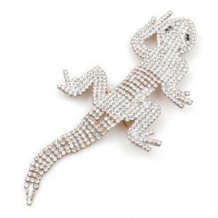 Extra Large Lizard Gecko Brooch ~ Clear Crystal