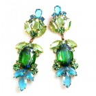 Iris Grande Pierced Earrings ~ Silver Green Aqua