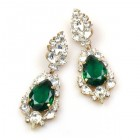 Grand Mythique Earrings for Pierced Ears ~ Crystal Emerald